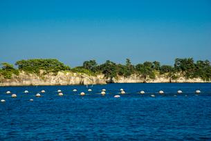 松島島巡り観光船よりカキの養殖棚と松島の島々の写真素材 [FYI01495602]