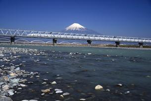 富士川を渡る下りの新幹線と富士山の写真素材 [FYI01496057]