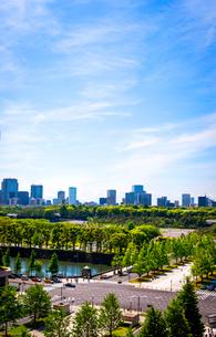 新丸の内ビルディングより皇居前広場方面と高層ビル群の写真素材 [FYI01496528]