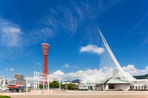 ポートタワーとメリケンパーク 神戸港の写真素材 [FYI01496760]