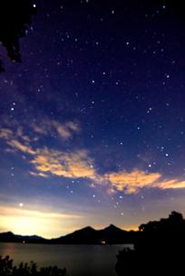 桧原湖湖畔より磐梯山と夏の星空の写真素材 [FYI01496896]
