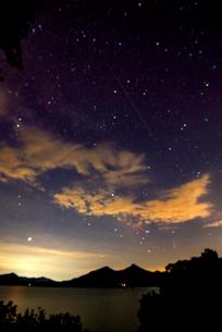 桧原湖湖畔より磐梯山と夏の星空の写真素材 [FYI01497308]