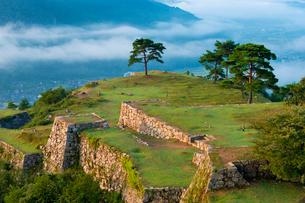 朝の竹田城跡と雲海の写真素材 [FYI01498066]