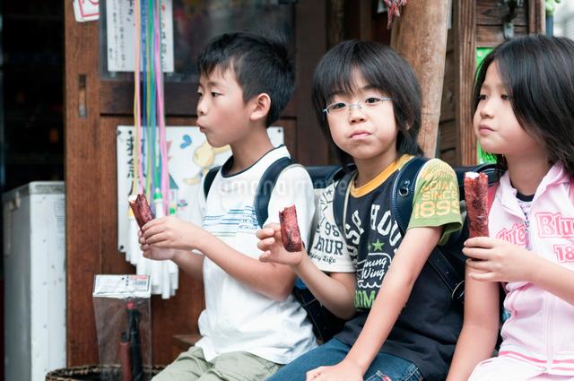 下校中に寄り道をする小学生の写真素材 [FYI01498350]