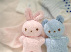 ウサギとクマのベビー用ぬいぐるみの写真素材 [FYI01498515]