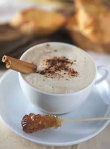 泡立つシナモン入りのカプチーノとコーヒーシュガーの写真素材 [FYI01498692]
