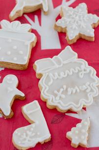クリスマスイメージのアイシングクッキーの写真素材 [FYI01499175]