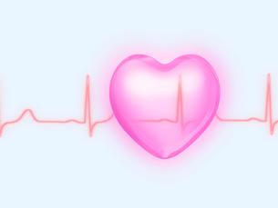 心電図とピンクのハートの写真素材 [FYI01501800]