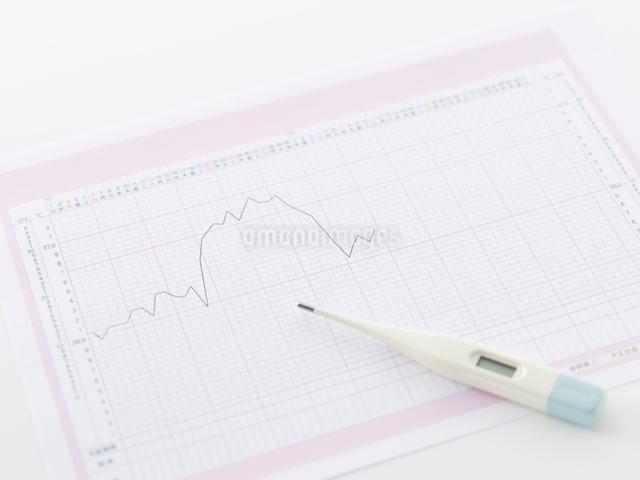 基礎体温表と基礎体温計の写真素材 [FYI01501842]