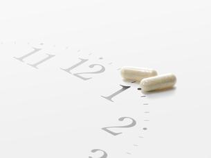 時計の時刻とカプセルの薬の写真素材 [FYI01502124]