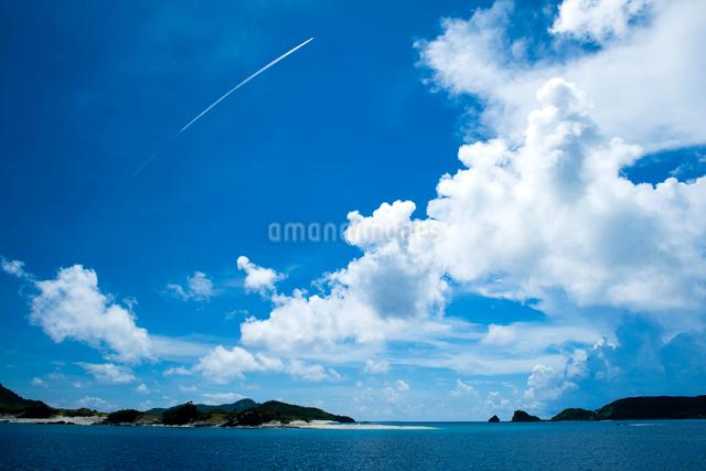 飛行機雲と夏の空の写真素材 [FYI01502554]