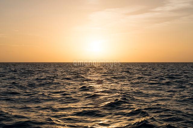 水平線と夕日の写真素材 [FYI01502823]