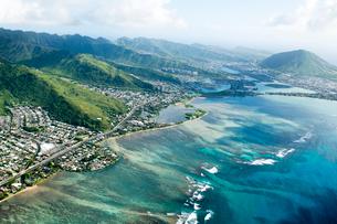オアフ島ハワイカイの空撮の写真素材 [FYI01504519]