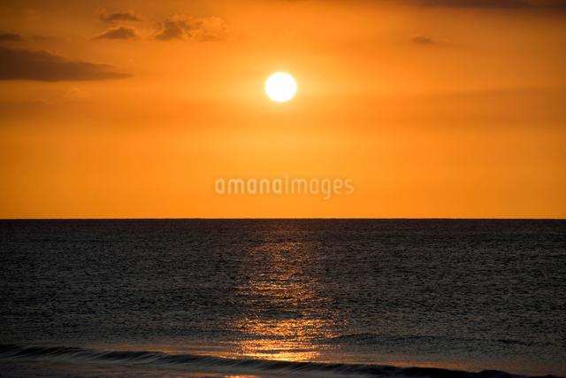 夕暮れの海、水平線と夕日の写真素材 [FYI01505147]