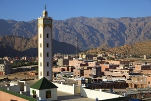 houses, minaret, tower, view from my hotel terraceの写真素材 [FYI01505459]