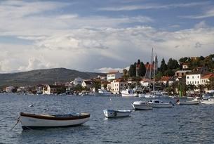 village, boats, Rogoznica, Dalmatia, Croatiaの写真素材 [FYI01506482]