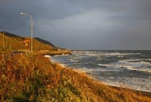 Japan Sea Coast, evening sunlight, wavesの写真素材 [FYI01506584]