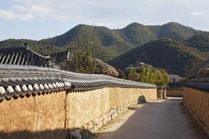 street, mud walls, Hahoe Village, Gyeongsangbuk-do, Koreaの写真素材 [FYI01506986]
