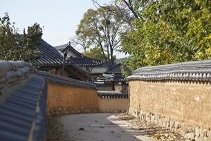 street, mud walls, Hahoe Village, Gyeongsangbuk-do, Koreaの写真素材 [FYI01507184]