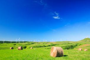 風力発電の風車と牧草ロールの写真素材 [FYI01507655]