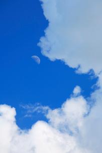 入道雲と月の写真素材 [FYI01507942]
