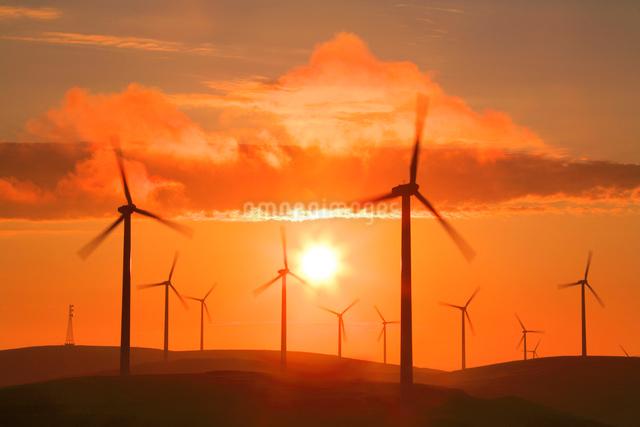 風力発電の風車と朝日の写真素材 [FYI01508124]