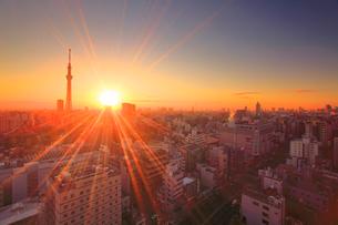 浅草の街並と東京スカイツリーと朝日の写真素材 [FYI01508261]