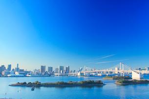 レインボーブリッジとベイエリアのビル群と船の写真素材 [FYI01508372]