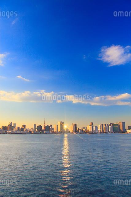 東京タワーと夕日に輝くベイエリアのビル群の写真素材 [FYI01508525]