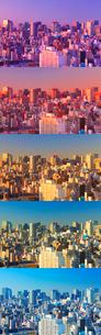 浅草から望む五色に変化する都心のビル群,朝昼景の写真素材 [FYI01508597]