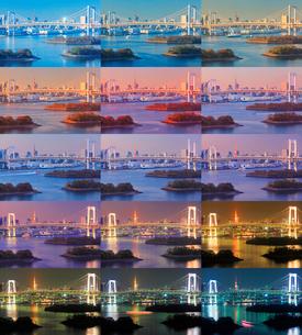 レインボーブリッジと東京タワーの昼夕夜景の写真素材 [FYI01508802]