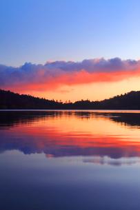 水鏡の白駒池の水面と朝焼けの雲の写真素材 [FYI01508871]