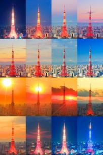 東京タワーと富士山の一日の写真素材 [FYI01508895]