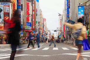 新宿通りの歩行者天国を行き交う女性などの通行人の写真素材 [FYI01509056]