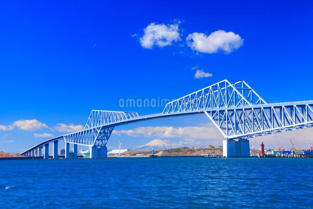 東京ゲートブリッジと富士山と飛行機の写真素材 [FYI01509075]