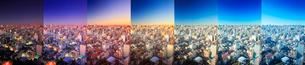 浅草から望む七色に変化する都心と新宿のビル群と富士山,朝昼景の写真素材 [FYI01509154]