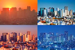 新宿のビル群の朝昼夕夜景の写真素材 [FYI01509165]