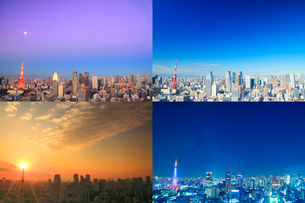 東京タワーと富士山と都心のビル群の朝昼夕夜の写真素材 [FYI01509195]