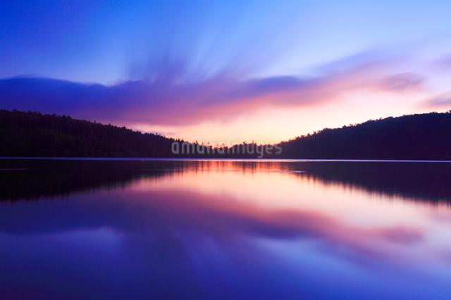 水鏡の白駒池の水面と朝焼けの流れる雲の写真素材 [FYI01509367]