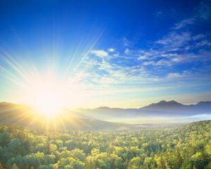 新緑の樹林と朝日と西クマネシリ岳などの山並みの写真素材 [FYI01509902]