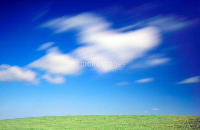 牧草地の丘と流れる雲の写真素材 [FYI01510120]