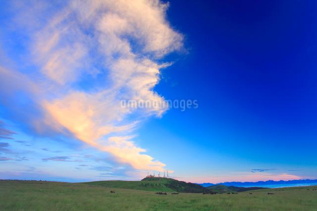 王ヶ頭のアンテナ群と牧草地と朝焼けの写真素材 [FYI01510166]