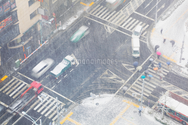 吹雪の中野駅前交差点と車と通行人の写真素材 [FYI01510478]