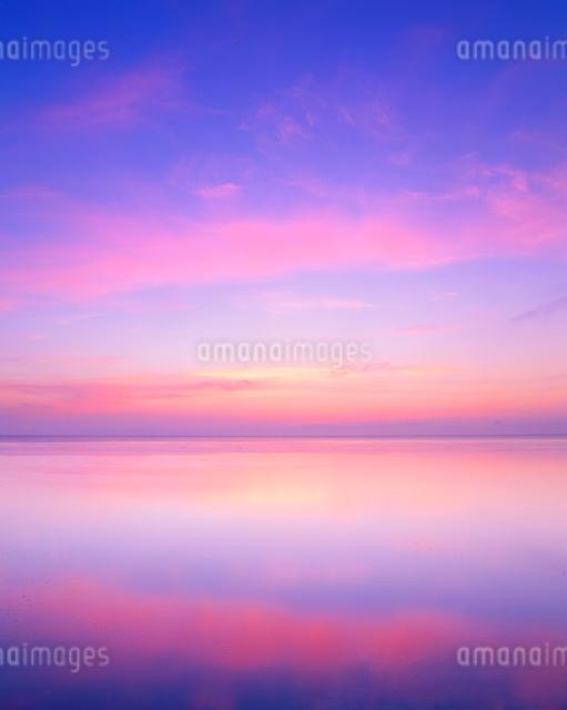 水鏡の海と朝焼けの写真素材 [FYI01511310]