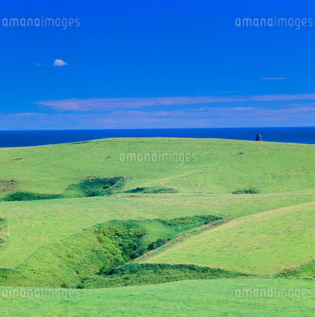 牧草地と風車と海の写真素材 [FYI01512445]
