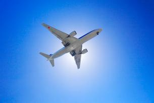 太陽を遮って通過する全日空の航空機の写真素材 [FYI01512613]