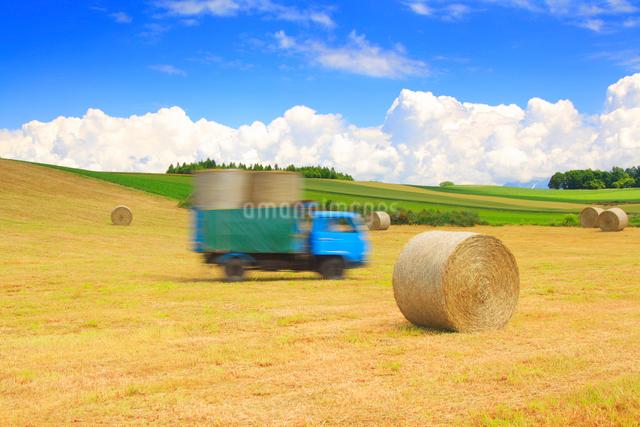 干し草ロールの運搬作業の写真素材 [FYI01512861]