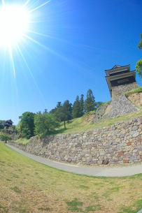 上田城の南櫓と西櫓と太陽の光芒,魚眼レンズの写真素材 [FYI01513581]