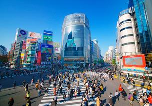 渋谷駅前スクランブル交差点を行き交う通行人の写真素材 [FYI01514613]