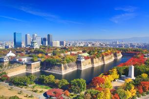 紅葉の大阪城と大阪ビジネスパークのビル群の写真素材 [FYI01514770]